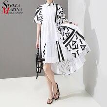 Корейский стиль женское летнее стильное белое платье-рубашка с геометрическим принтом для девушек размера плюс повседневное подиумное платье миди милое платье 5114