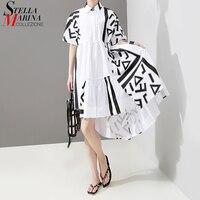 2019 Korean Style Women Summer White Shirt Dress Geometrical Patterns Print Long Back Female Plus Size Casual Runway Dress 5114