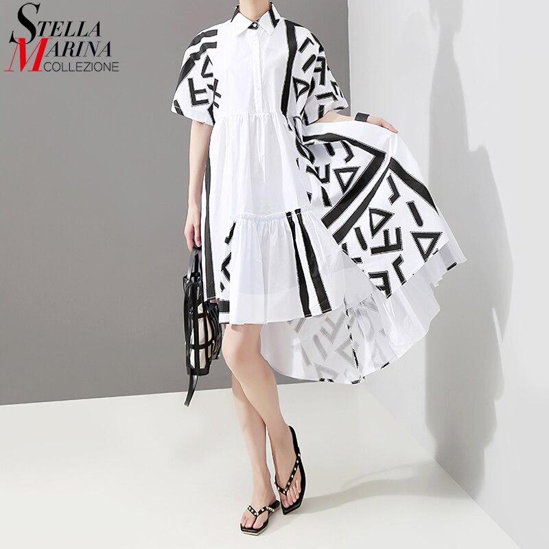 2019 Style coréen Femmes D'été Robe Chemise Blanche Motifs Géométriques Impression Longue Femme grande taille décontracté Robe De Piste 5114