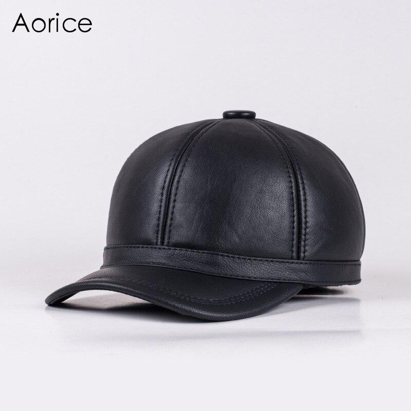 Aorice Gorra de Béisbol Sombrero de Cuero Genuino Moda hombres de la Marca  de Invierno nuevos 7f8fb366931