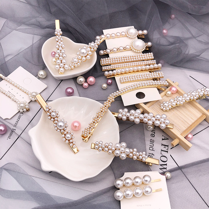 Luxury Pearl Hair Clip Barrettes Stick Hairpin Hair Accessories Hair Pins for Girls Women Ladies Jewelry