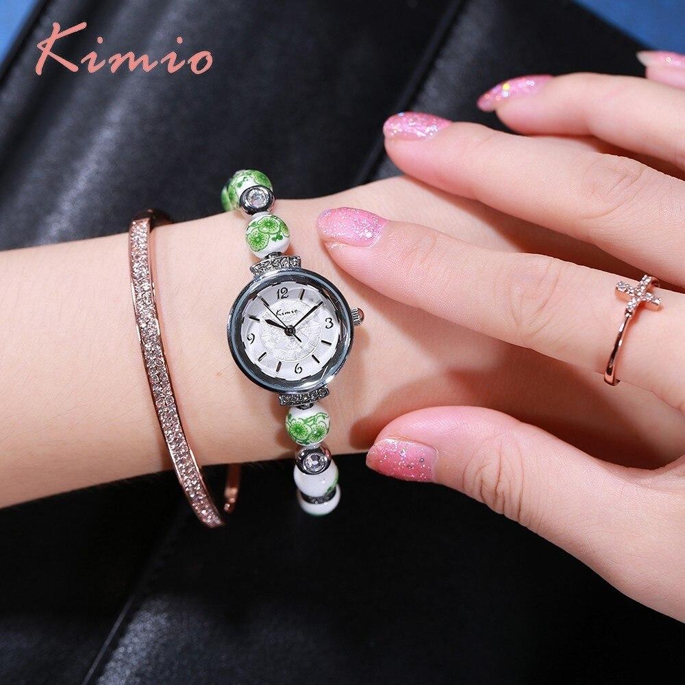 KIMIO Retro Həqiqətən Çin Seramik Saatı Mavi və Ağ Çini Çin - Qadın saatları - Fotoqrafiya 3