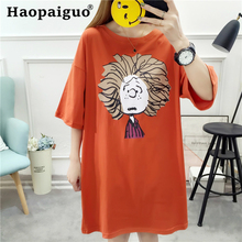 M-2XL Plus Size Print Big-haired Cute Long Red T Shirt Female Tops Tees Ladies Short Women T-shirt Cotton Tshirts