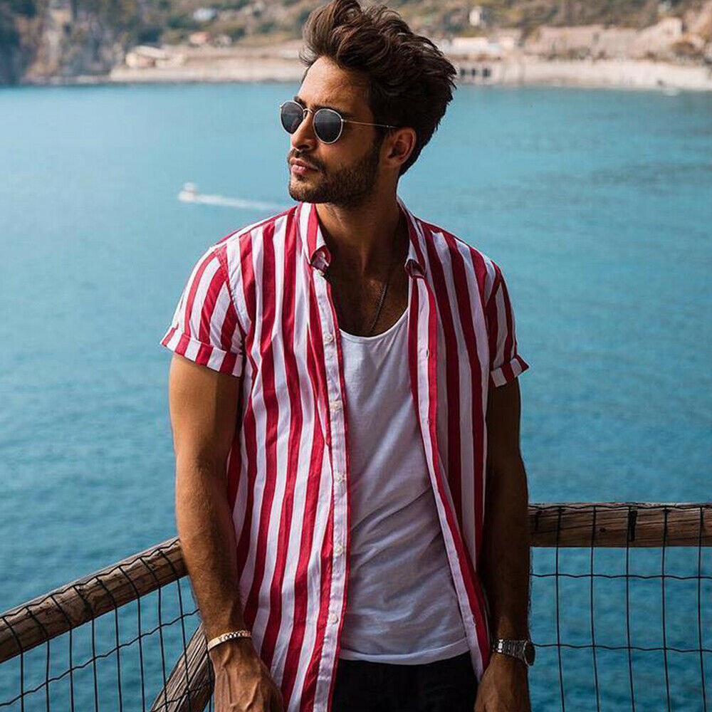 2019 Men Fashion Short Sleeve Regular Fit Button Down Shirt Casual Vertical Striped Shirt Stylish Formal Casual Shirt Top