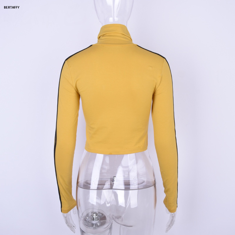 HTB1C2N6XOYrK1Rjy0Fdq6ACvVXa7 - Quentin Tarantino Short T-shirt Yellow Sexy Crop Tops Tumblr Women Grunge Stripe Long Sleeve Cotton Knitted Tees Art Fashion