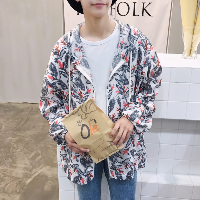 The 2017 summer new trend floral loose version hooded sunscreen clothing couples clothes Jacket Blue dark