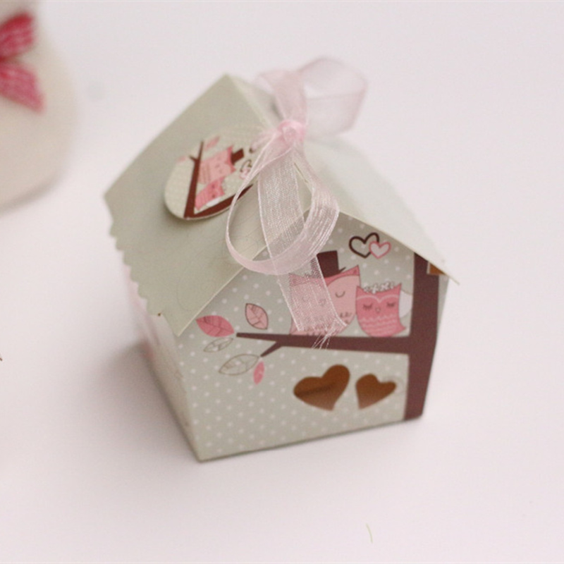 20pcs/lot Creative White Couple Owl Bird Home Paper Wedding Candy Box Beautiful Hollow Heart House Candy Gift Box Party Supply