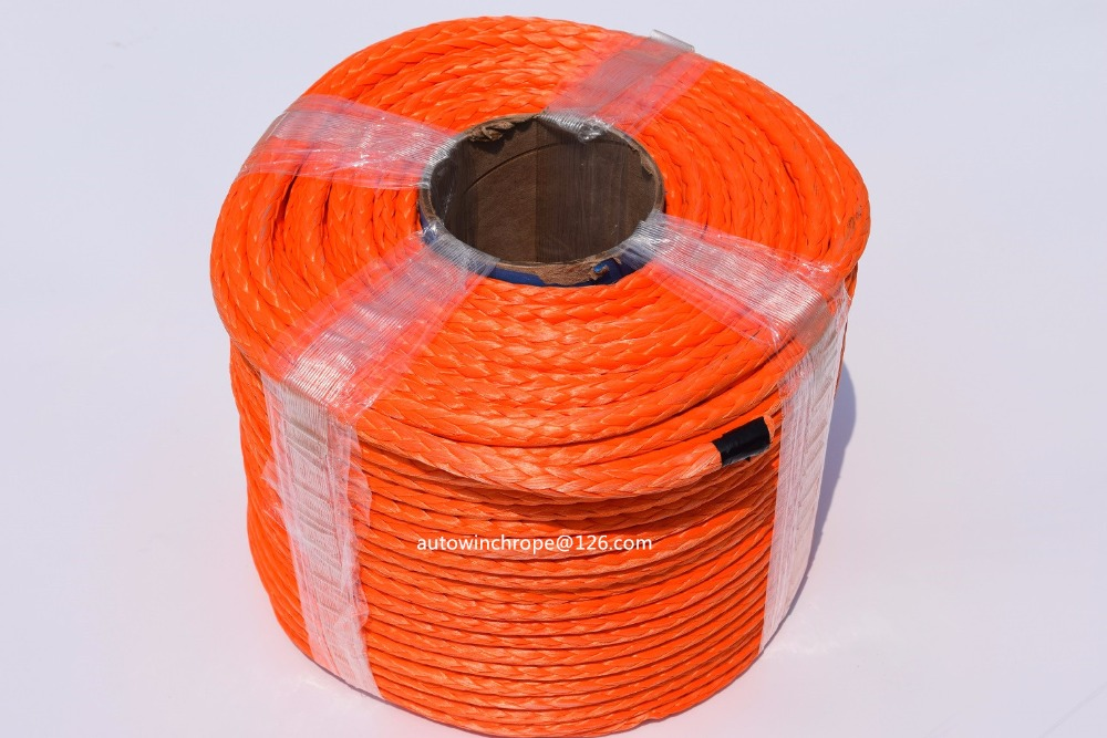 Free Shipping 10mm*100m Orange Synthetic Winch Rope,ATV Winch Cable,UHMWPE Rope,Off Road Rope oversea 27m 10mm synthetic winch rope cable with protective sleeve breaking strength 20500 lbs winch line for atv tuck black