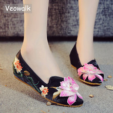 Veowalk New 3D Lotus Aplliques Women Pointed Toe Canvas Ballet Flats Flower Embroidered Slip on Comfort Cotton Shoes for Woman