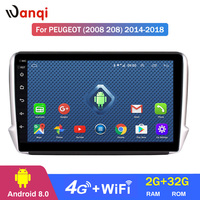 4G Lte All Netcom 10.1 inch Android 8.0 Car GPS Multimedia For Peugeot 2008 208 series 2014 2018 Navigation Player