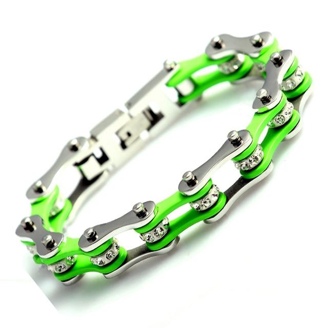 Trendy Fashion Bracelets Jewelry Green Silver Crystal Stainless Steel Motorcycle Bike Chain Women Men Boy Girl Bracelet Bangle