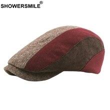 SHOWERSMILE Patchwork tapa boinas a cuadros gorras planas de las mujeres de  pico de pato Ivy sombreros de los hombres de inviern. c249153a1b1
