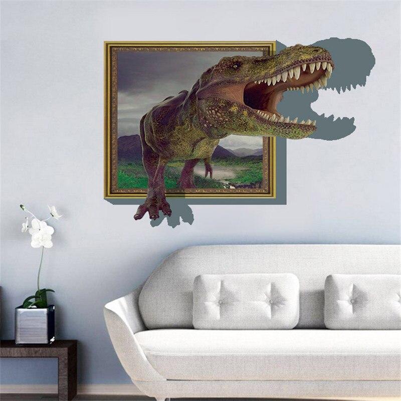 Creative dinosaur cartoon wall stickers d three