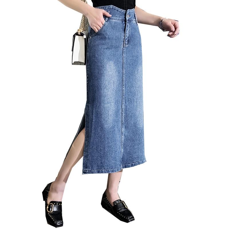 Azul Para Algodón De Mezcla Faldas Casual Plus calf Tyn0917 Tamaño Mujer Moda Recto Primavera Nueva Imperio Mujeres Mid 8x5p5qwR