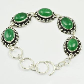 Green Jaspers Bracelet Silver Overlay over Copper 22 cm B2217 in Charm Bracelets from Jewelry Accessories