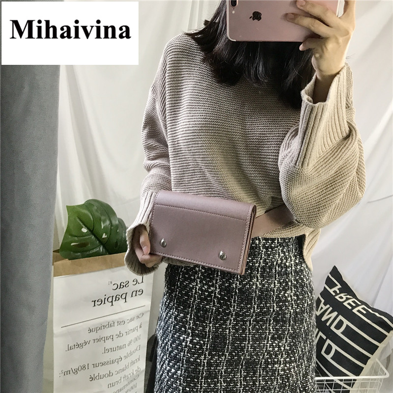 Mihaivina Women Bag Popular Leather Waist Pack Chain Shoulder Bags Fashion Hand Free Bag Female Chest Pack Bag For Iphone X