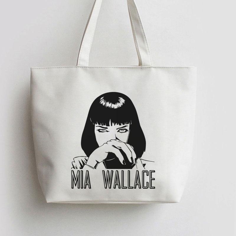 Mia Wallace Japanese Anime Canvas Tote bags Cartoon Shopping bag Reusable Shopper Grocery Bag GA576