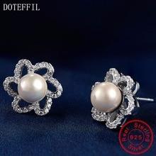 Charm Pearl Women Earrings 100% Sterling Silver Charm Earrings High Quality 925 Silver Luxury Jewelry [meibapj] 925 sterling silver 4 items pearl leopard sets 100