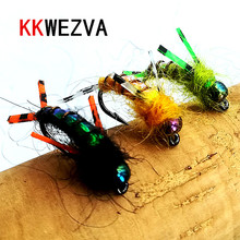 KKWEZVA 18PCS fly fishing lure #8 Black hooks Bright Skin Material Nymph Spinner Fly Insect Bait Trout Fly Fishing Flies все цены