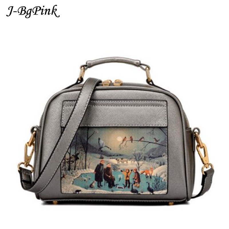 Oil Picture Pattern Women Bag Fashion PU Leather Women Leather Handbag Casual Women Shoulder Bag shoulder bag printing handbags new 2017 fashion brand genuine leather women handbag europe and america oil wax leather shoulder bag casual women
