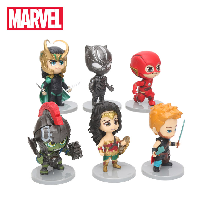 6pcs Avengers Figure Set Superhero Hulk Black Panther Wonder Woman Loki Flash Thor Pvc Figures Collectible Model Doll Marvel Toy