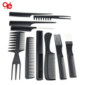 Hot selling 10pcs/black pro salon hair styling hairdressing plastic barbers brush combs set