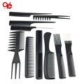 Venta caliente 10 unids/negro pro salon estilismo peluquería barberos brush peines de plástico conjunto