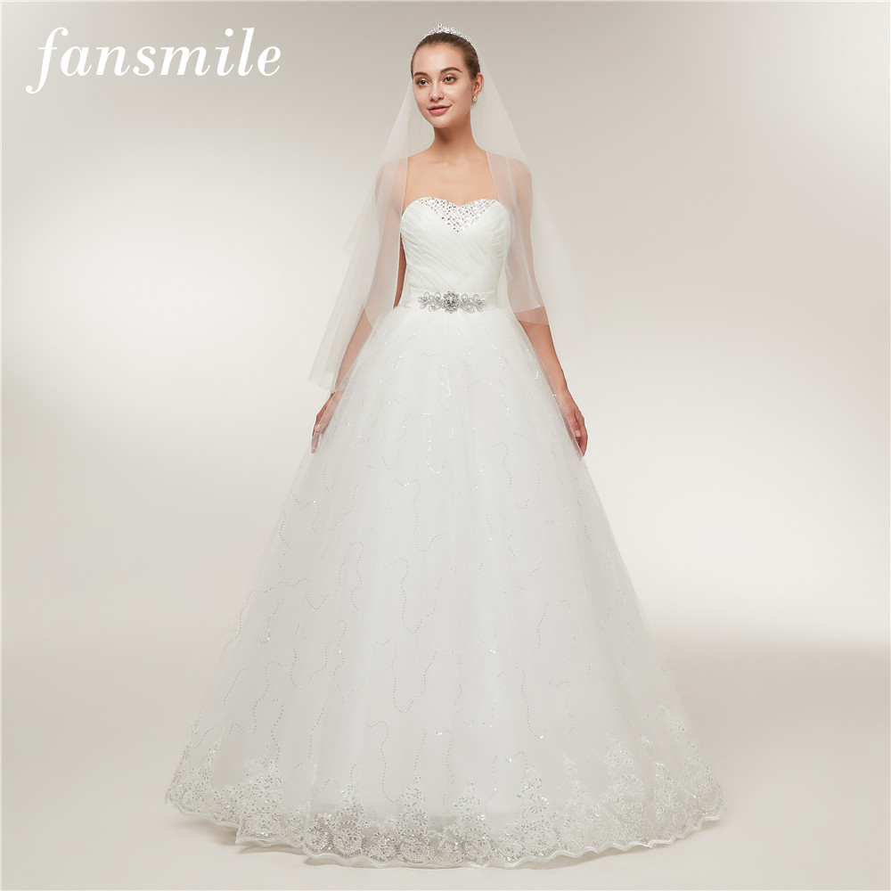 Fansmile Cheap Vintage Lace Bridal Wedding Dresses 2017 Customized Plus Size Princess Ball Gown Wedding Dress Under $50 FSM-175F