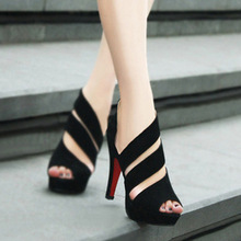 Autumn Hot sale  2016 women's sexy shoes, fish head sandals new summer Ms. heels waterproof shoes in Rome
