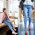 2016 Summer New Fashion Women Wear Female Retro Hole Casual Ripped Jeans Plus Size Pencil Pants calca jeans