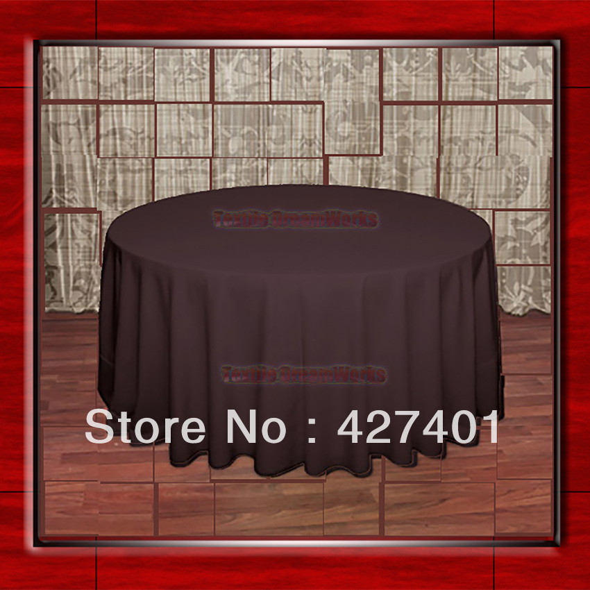 108Round Brown 210GSM Polyester plain Table Cloth For Wedding Events & Party Decoration(Factory Direct Sales)