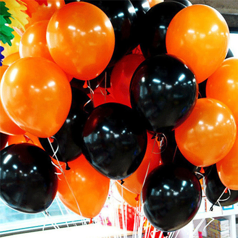 100pcs 12inch Black/Orange Latex Ballons For Halloween Party Accessories Decoration Birthday Party Supplies