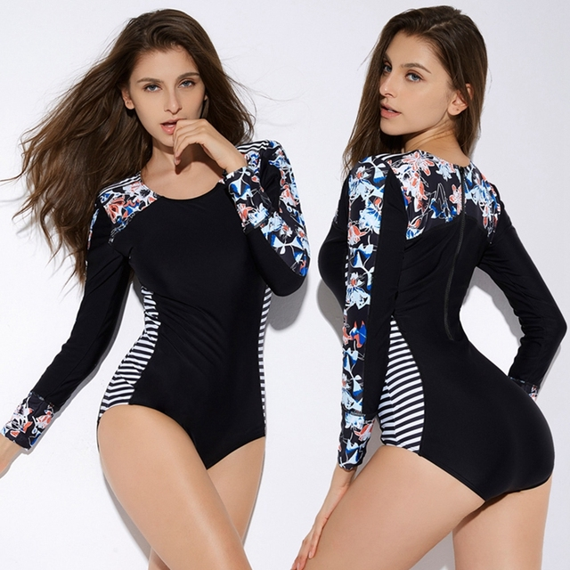 cd1860dd2bc64 2019 Floral Print swimsuit Women One piece Striped Swimwear Rash Guard Plus  size Bathing suit long