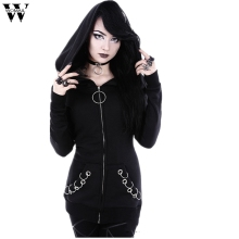 Womail 2019 Gothic Punk Women Loose Jacket Coat Hooded Solid Long Sleeve Black Cardigan Jacket Coat JL12 mujeres rompevientos
