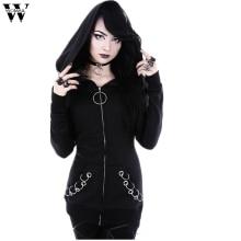 Womail 2019 Gothic Punk Women Loose Jacket Coat Hooded Solid Long Sleeve Black Cardigan Jacket Coat JL12 mujeres rompevientos