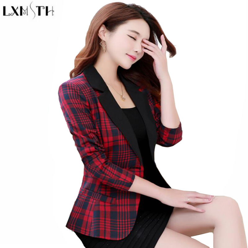 LXMSTH Autumn New 2017 Long Sleeve Plaid Blazer Woman Short Slim Thin Elegant Blazers Casual Ladies Short Suit jackets Green Red