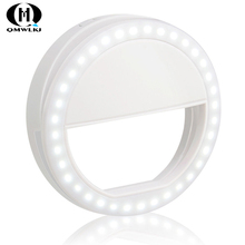 Selfie Portable Ring LED light Mobile Phone Light Shoot External Clip Lamp USB charging For iphone  Xiaomi Huawei
