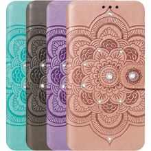 Luxury Leather Cover Datura Case For Frame LG V40 G8 G8S ThinQ Stylo 5 4 Card Slot Bling Diamond Mandala Lady Phone Wallet DP13H