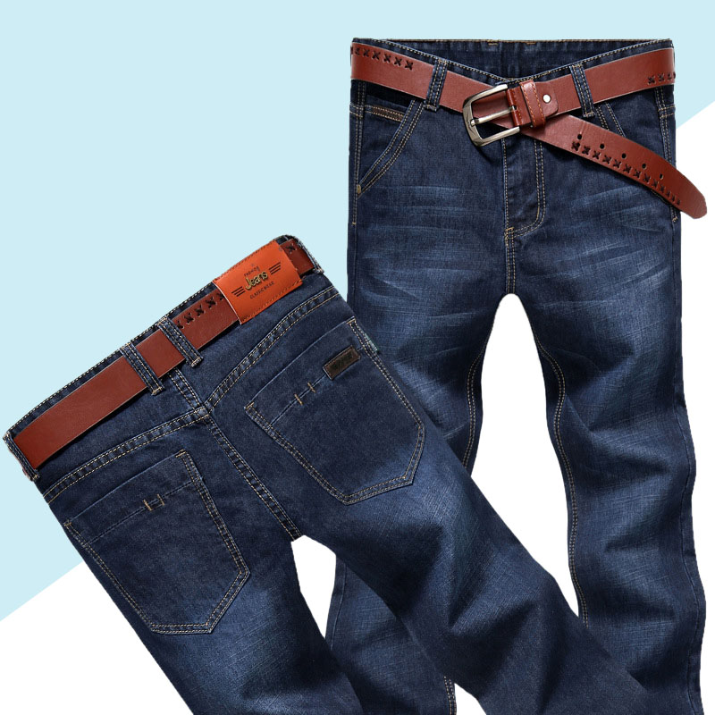 Mens Jeans Classic Straight Denim Jeans With Zippers Pleated Slim Blue Black Jean Men's Scratched Long Pants Trousers