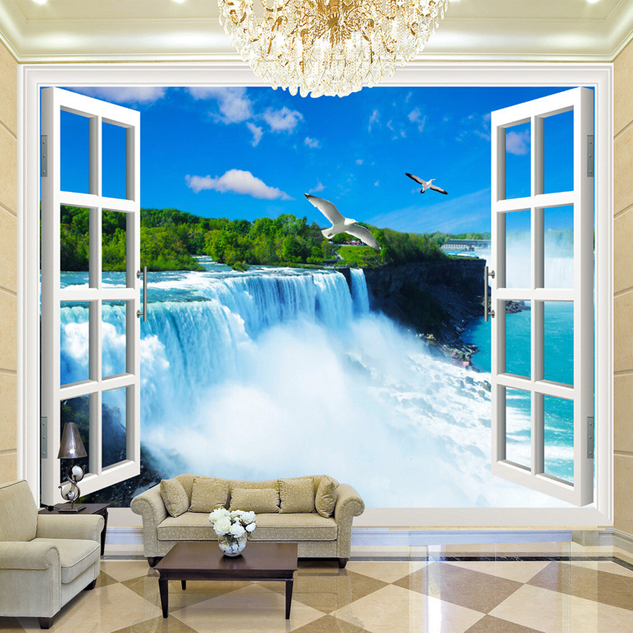 Custom Any Size 3D Photo Wall Paper Natural Mural Scenery Spectacular Waterfalls Large Mural Bedding Room Wall Paper TV Backdrop