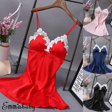 Women Lingerie V Neck Nightwear Satin Sleepwear Lace Chemise Teddy Women Lingerie Satin Chemise Nightgown Sexy Slips Sleepwear