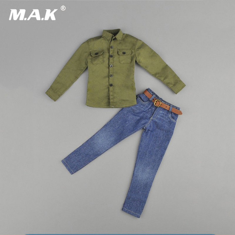 1:6 Scale ZY5001 Male Army Green Shirt Jeans Clothes Set for 12 inches Action Figure 1 6 scale 12 inches male clothes