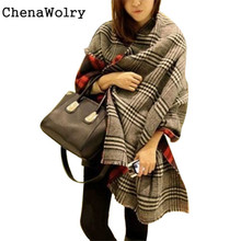 ChenaWolry 1PC 2016 Attractive Luxury New Women Tassel Lattice Large Checked Plaid Tartan Winter scarves Wraps Shawl Cappa Oct26