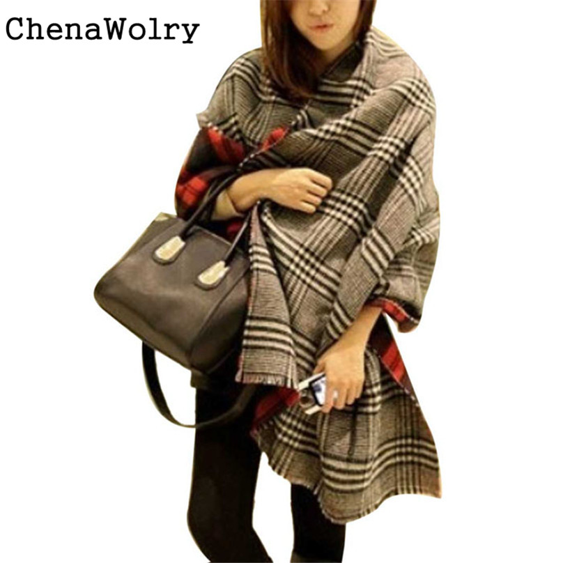 ChenaWolry 2017 Attractive Luxury New Women Tassel Lattice Large Checked Plaid Tartan Winter   scarves     Wraps   Shawl Cappa #SD3140