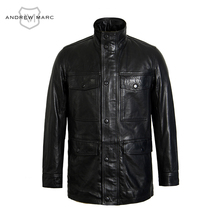 ANDREW MARC 2016 100 Genuine Cowskin Leather Men s Autumn Winter Windproof Jackets Overcoat Fashion Business