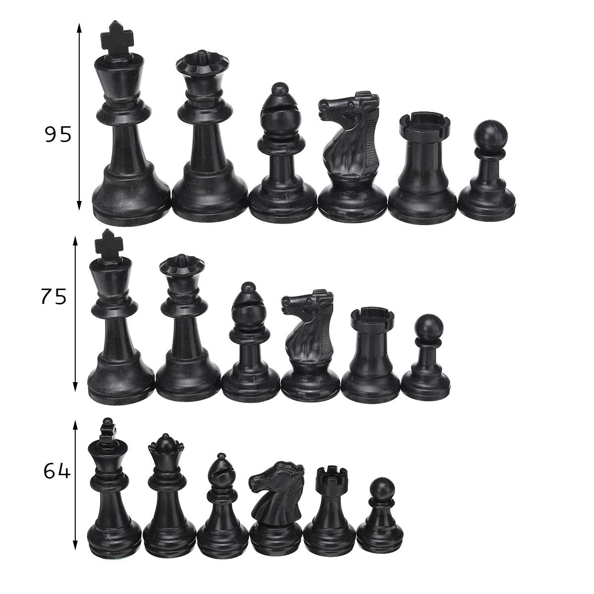 32PCS Chess Pieces Plastic Complete Chessmen International Word Chess Game Entertainment without Chess Board 9.5cm /7.5cm/6.4cm