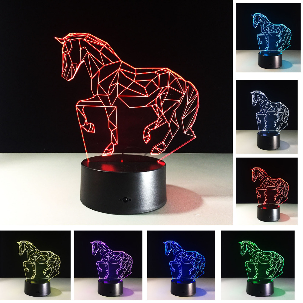 New Stylish Christmas New Year Gifts 7 Colors Changing Animal Luces Navidad Horse Night Lights 3D