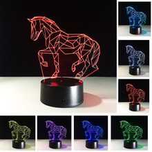 New Stylish Christmas New Year Gifts 7 Colors Changing Animal Luces Navidad Horse Night Lights 3D LED Visual Atmosphere Lamp