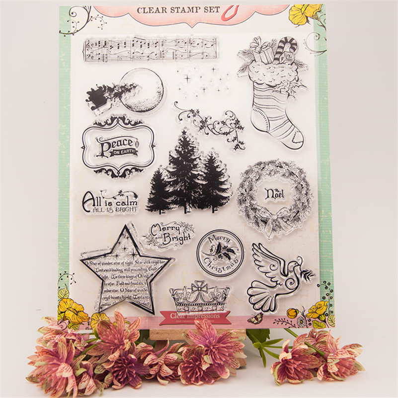 New arrival happy Christmas day Silicone Transparent Clear Stamp Seal for DIY scrapbooking photo album stamp craft RZ-158 new arrival lovely dog and bear silicone transparent clear stamp seal for diy scrapbooking photo album stamp craft rm 127