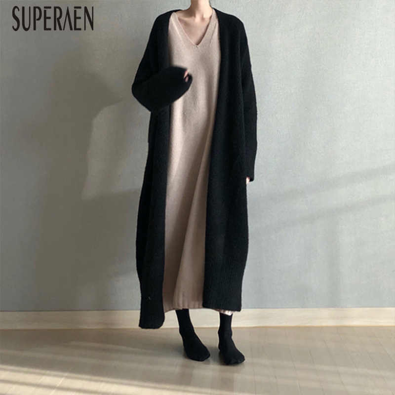 SuperAen Long Sweater Female New Korean Style Autumn and Winter New 2018 Sweater Coats Women Loose Thick Cardigan Sweaters